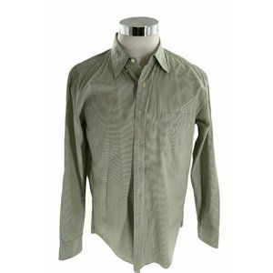 J Crew Tailored Fit Long Sleeve Green White Stripe